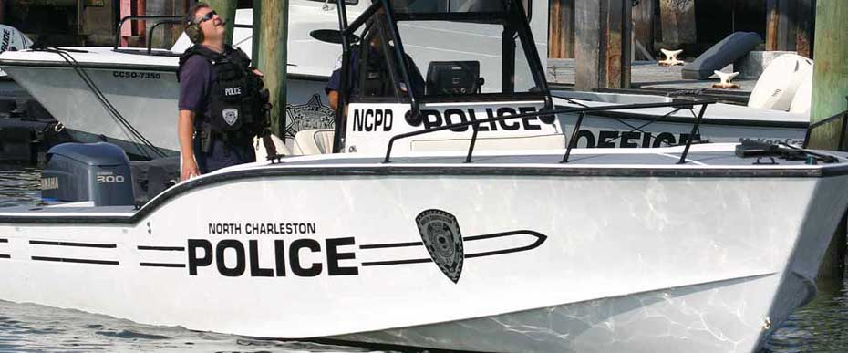 28 year old Ocean Master 31 center console being used by the marine police.