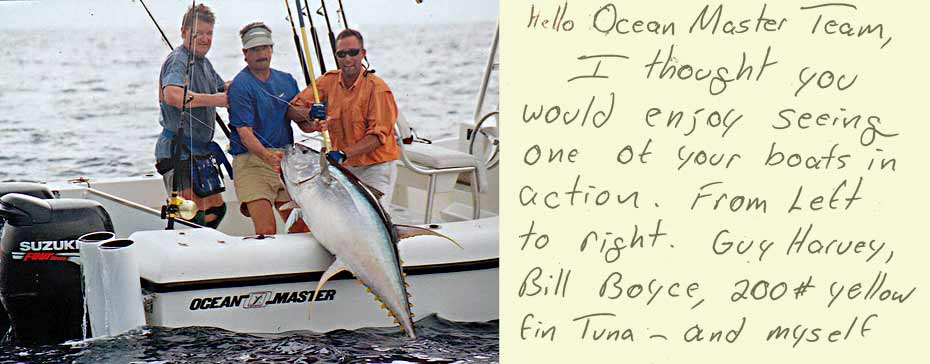 Guy Harvey fishing on an Ocean Master 27 Center Console - landing large tuna